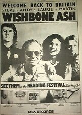 WISHBONE ASH Welcome Back 1975   UK Poster size Press ADVERT 16x12""