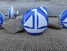Blue & White Nautical Sail Boat Sailboat Ceramic Drawer Pull Knob Boating