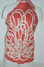 New Gucci Women's red Silk Gold Rope with Gucci logo  Scarf Halter Top