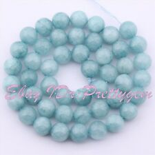 "8mm Smooth Round Shape Blue Aquamarine Jade GemStone Spacer Loose Beads 15""/Lot"