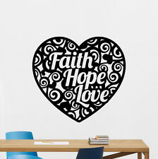 Faith Hope Love Heart Wall Decal Religion Christmas Vinyl Sticker Mural 53quo