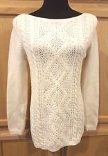 White House Black Market Ecru Silver Studded Boat Neck Cable Knit Sweater, L $98