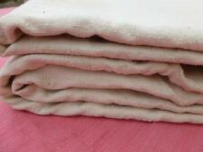 UNUSED ANTIQUE FRENCH HOMESPUN HEMP & LINEN SHEET FABRIC THROW ALL HAND SEWN NO2