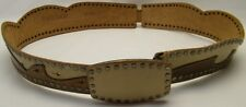 LINEA PELLE BRN TAUPE OVERLAY WAVES RIVET GENUINE LEATHER HIPSTER BELT SZ MEDIUM