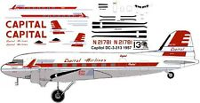Capital Douglas DC-3 C-47 airliner decals for Minicraft 1/144 kits