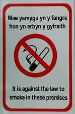 IT IS AGAINST THE LAW TO SMOKE IN THESE PREMISES WELSH BILINGUAL SAV A4 20x30CM