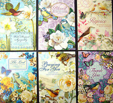 cHRISTIAN sCRIPTURE Set of 6 Assorted  Bird Garden Greeting Cards  #96688