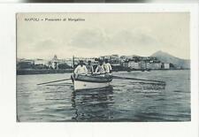 antica cartolina con persone napoli panorama di mergellina marinai su barca