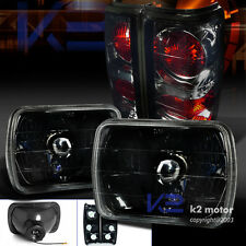82-93 Chevy S10 Blazer GMC S15 7X6 Crystal Black Headlights+Smoke Tail Lamps