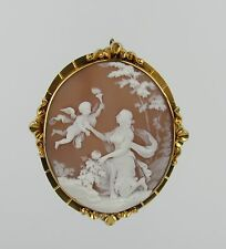 Fine Large 14K Shell Cameo of Venus and Cupid with Torch - Brooch Pendant