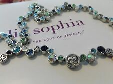 "Lia Sophia Happy Hour Crystal necklace 16-19""silver green aqua blue clear, $130"