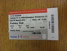 04/03/2012 BIGLIETTO: Fulham V Wolverhampton Wanderers. grazie per la visualizzazione e la nostra