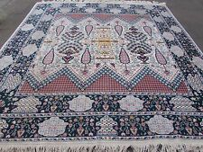 Old Traditional Tribal Hand Made Tunisian Wool White Rug Square Carpet 305x292cm