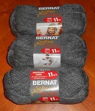 Bernat Softee Chunky Yarn Lot Of 3 Skeins (True Grey #28044)