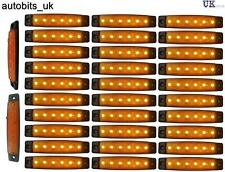30 pcs 24V 6 LED Side Marker Yellow Indicators Lights Truck Trailer Bus Lorry