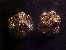 VINTAGE SIGNED SARAH COVENTRY EARRINGS GOLD TONE FILIGREE WITH RED AURORA BOREAL