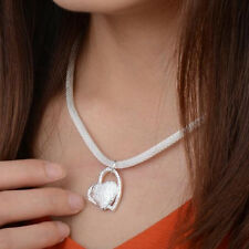 Womens Girls Silver Plated Heart Pendant Necklace Costume Jewellery UK Stock