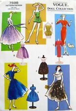 "Vogue 7598  11.5"" Vintage Fashion Doll Clothes Pattern 1950's Retro Vintage"
