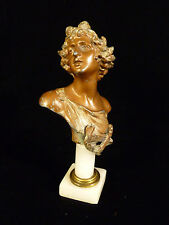 RARE MINIATURE CLASSICAL BRONZED BUST OF APOLLO ON MARBLE PILLAR – CIRCA 1890