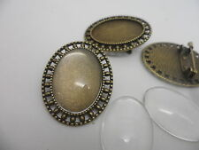 NEW VINTAGE Bronze Brooch Kit,3 settings & 3 Cabochons.34x27x2mm,tray 25x18mm