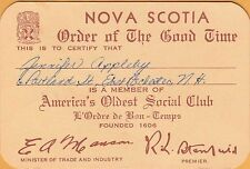 NOVA SCOTIA, CANADA ~ ORDER OF THE GOOD TIME ~AMERICA'S OLDEST SOCIAL CLUB~c1960