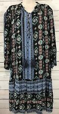 Holding Horses Anthropologie Winter Moon Tunic Dress Boho Ikat Tassel Tie LARGE