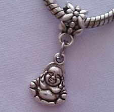 Laughing Buddha Religious Dangle Bead Silver For European Style Charm Bracelet