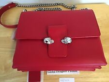 New Authentic Alexander McQueen Red Calf Leather Twin Skull Satchel Bag