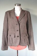 Eddie Bauer Wool Brown Herringbone Blazer Sport Jacket Riding Coat (14) Woman's