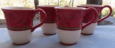 Set of FOUR Fitz and Floyd Damask Holiday Mugs Christmas Dinnerware  NEW