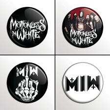 "4-Piece MOTIONLESS IN WHITE (MIW) 1"" Pinback Band Buttons / Pins / Badges Set"