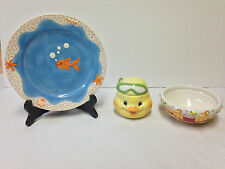 "FITZ & FLOYD ""Stack Happy"" Snorkel Duck Children's Set Plate Bowl And Cup"