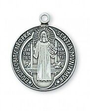 """STERLING SILVER ST. BENEDICT MEDAL ON 18"""" RHODIUM PLATED CHAIN -NIB"""