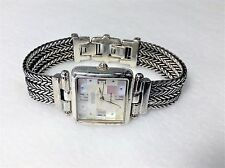 "Ecclissi Sterling Silver Square Mother of Pearl Dial 7"" Watch #33435"