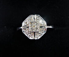 Art Deco Style Octagonal 9ct White Gold Diamond Ring, Size L, US 5 3/4