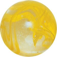 NEW 1 GIANT LUSTRED LUSTERED SPAGHETTI 42mm GLASS MARBLE TRADITIONAL HOM YELLOW