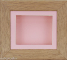 Solid Oak Box Display Wooden Frame 3D Picture Craft Art Baby Girl Keepsakes Pink