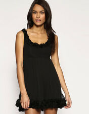 ASOS BLACK CHIFFON ROSE CORSAGE BABYDOLL MINI DRESS *UK 10/EU 38* BNWT *RRP £45*
