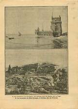 Torre de Belém Tower Tage Tagus Tejo Lisbon Lisboa Portugal 1919 ILLUSTRATION