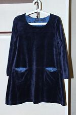 Ladies Gudrun Sjoden Velvet Tunic Blouse With Front Pockets Blue Color Size S