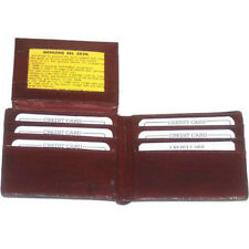 EEL Skin Mens Burgundy Leather Wallet Bifold Flip ID Window Credit Card Holder