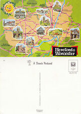 1980's VISITORS MAP OF HEREFORD & WORCESTER UNUSED COLOUR POSTCARD