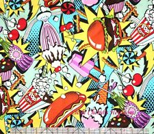 Alexander Henry Midnight Snack Burger Milkshake Hot dog Fabric