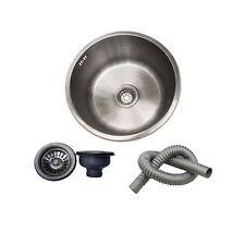 Undermount Top Mount Stainless Steel Kitchen Sink Round Bar Bowl With Strainer