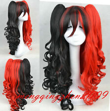 Free shipping Harley Quinn Black and red curly hair cosplay party synthetic wigs