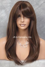 Long silky Straight Lace Front Wig Brown Mix bangs HEAT SAFE Wig HSO 4.27.30