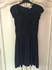 LN RED VALENTINO LADIES NAVY RUFFLE DRESS SIZE MEDIUM