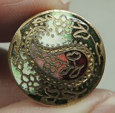 ENAMEL & BRASS PAISLEY BUTTON  ~ METAL