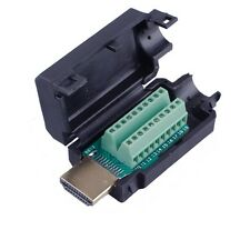 HDMI Male 19P Plug Breakout Terminals Solderless Connector With Black Cover CA