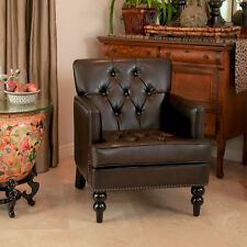 Elegant Design Brown Tufted Leather Upholstered Arm Chair w/ Nailhead Accents
